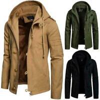 Mens Plain Military Tactical Jacket Warm Cotton Hunting Coat Hoodie Hooded Coat