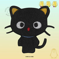 Black Cat Embroidered Iron On Patch Cute Cat Sew On Badge Applique