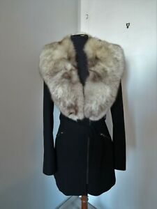 Vintage white brown real blue fox fur collar scarf wrap trim shawl for coat