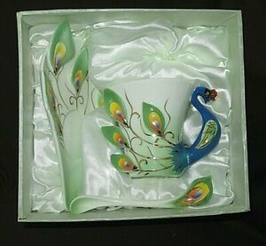 Modern Chinese Cup Saucer Spoon MIB Jewel 2016  Peacock Handle  Porcelain