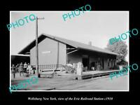 OLD LARGE HISTORIC PHOTO OF WELLSBURG NEW YORK, ERIE RAILROAD STATION c1910 2
