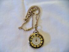 Vintage Lucerne Watch Pendant With Chain Ornate Back for Repair or Parts Swiss