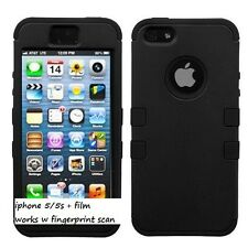 NEW Hybrid Protective Rugged Case Cover Skin iPhone 5 5S 5G BLACK + film