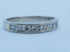 Superbe Platine & Diamant Éternité Anneau Taille M