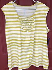 IZOD Sleeveless Striped Cotton Knit Top Shirt Lime Burst Women's Sz XL NWT Green