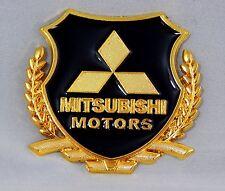 MITSUBISHI METAL 3D STICKER EMBLEM LOGO Badge Symbol Decal 54 mm Gold/Black Car