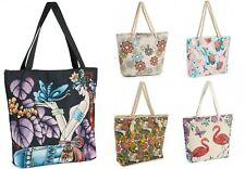 Ladies Canvas / Slouch Beach Shoulder Bag Summer Holiday Tote Shopping Handbag
