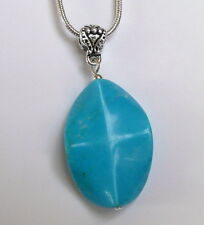 LIGHT BRIGHT COLOUR TURQUOISE PENDANT & SILVER PLATED NECKLACE