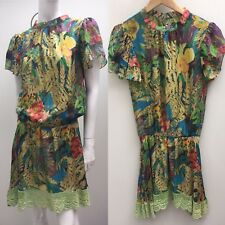Betsey Johnson New York sz US 6 Floral Silk Vintage Style Dress AS NEW