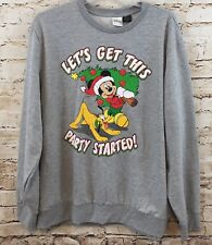 Mickey Mouse Christmas sweatshirt mens XL pluto new gray top ugly sweater F5