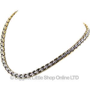 Neuf Femmes Acier Inoxydable Or & Chrome Magnétique Collier 31 Aimants Santé