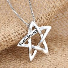 """Engraved """"Shine Like A Star"""" Silver Tone Pendant Necklace Box Chain Women Gifts"""