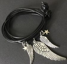 BLACK REAL LEATHER wrap bracelet with WINGS and STAR charms boho Bijoux