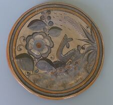 "Vintage Mexican Tonala burnished tourist pottery deer plate 8"" diam."