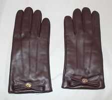 NWT Coach Bow Leather Gloves Size 8 - Plum - 85929
