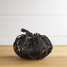 "Large Black Twig, Vines Pumpkin, Halloween, 10"" Tall, 7"" Dia, Spooky, Scary"