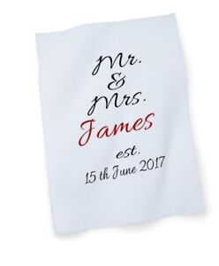 tea towel personalised white cotton wedding anniversary birthday new home gift