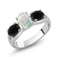 1.41 Ct Oval Cabochon White Simulated Opal Black Onyx 925 Sterling Silver Ring