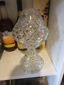 art deco vintage diamond cut crystal Boudoir Mushroom Lamp Light NEEDS FIXTURE
