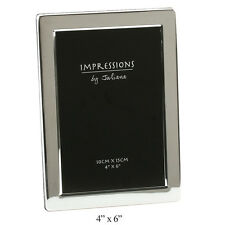 "Impressions JULIANA SILVER PLATED Picture Photo Frame Flat Edge - 4""x 6"" 10X15CM"