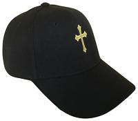 Black Christian Cross Religious Baseball Cap Caps Hat Hats God Jesus Gold OL