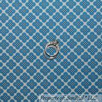 BonEful Fabric FQ Cotton Quilt VTG Blue Cream Off White Flower Calico US Pattern