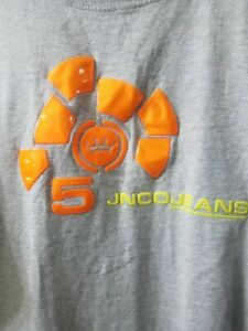 JNCO Jeans T Shirt Gray XL Made in The USA Orange 3D Raised Plastic Print