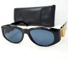 GIANNI VERSACE sunglasses 424 852BK vintage oval black gold gray big medusa head