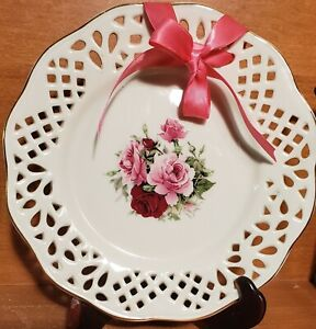 "Baum Bros Formalities VICTORIAN ROSE Pierced Salad plate, 8"", Gold trim, EUC"