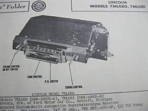 1948, 1949 LINCOLN 7ML080 & 7ML081 RADIO PHOTOFACT