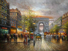 Dream-art Oil painting impressionism art street scene with Landmark buildings