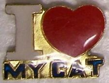 Hat Lapel Pin Scarf Clasp Cat I Heart Love my Cat NEW large