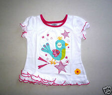 Girls Short Sleeve Top with Bird Print Design & Frilled Hem- Age 18-24 Mos-NEW