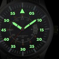 Uomo Orologio in Acciaio Inox Luminoso Quadrante Data Lusso Sport da Polso