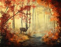 Deer Forest Painting - Trees Woods Nature Landscape Wall Art Canvas Pictures