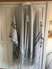 THE WHITE COMPANY Grey Stripe Detail Fringed Cardi Poncho, One Size, BNWT £179