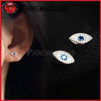925 Sterling Silver Gold GP Crystal Evil Eye Earring Ear Cartilage Piercing Stud
