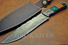 "DA2 ~ 12"" CUSTOM HANDMADE HRC DAMASCUS HUNTING KNIFE W/ EXOTIC WOOD- USA"