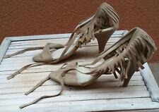 Sandalias de piel beige/camel Stradivarius 38