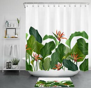 Tropical Plant Green Leaf Monstera Flowers Waterproof Fabric Shower Curtain Set