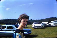 1960s Teenage Girl Woman Car Field Man Lot of 3 Vtg Kodachrome Color 35mm Slides