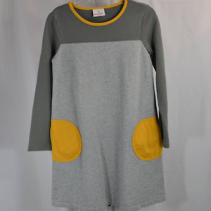 Hanna Andersson LS Terry Knit Gray 100% Cotton Dress Gray Mustard Yellow 150/12
