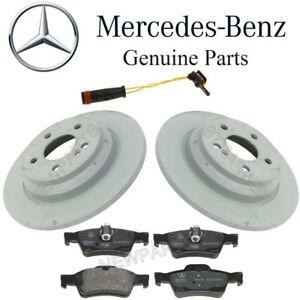 For Mercedes R230 SL500 Rear Brake Pad Set & 2 Solid Disc Rotors Sensor Kit OES