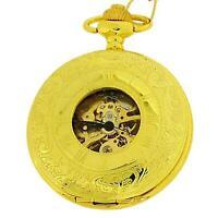 Boxx Mechanical Gold Tone Gents Skeleton Pocket Watch on 12 Inch Chain Boxx189