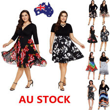 Plus Size Women Vintage Floral V Ncek Swing Dress Evening Party Cocktail Dress