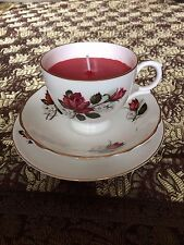 Teacup candle trio, Pall Mall Ware, Burgundy & white roses, rose scent wax