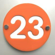Round Number House Sign - Orange & White Gloss Finish