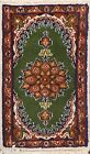 Vintage Green Traditional Floral Area Rug Wool Hand-knotted Oriental Carpet 1x2