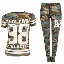 Ladies Women New York 98 Camouflage Army Print T Shirt Bottom Camo Set Tracksuit