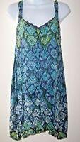 Free People One Slip Dress XS Blue/Green Rayon Print  Asymmetrical Hem Open Back
